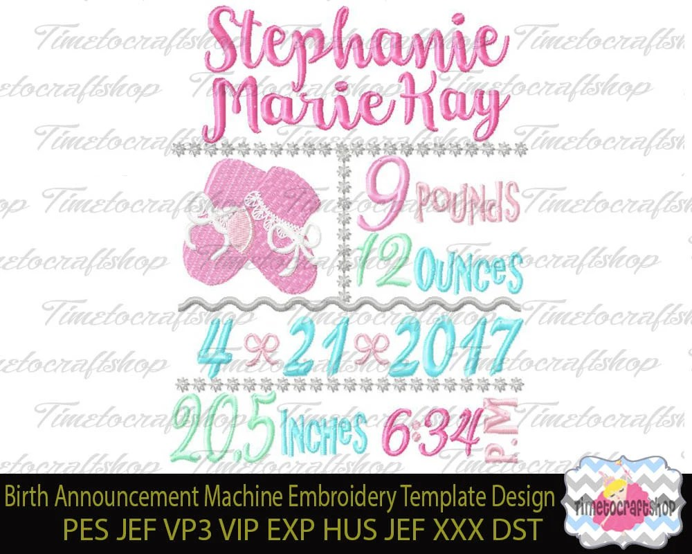 3 Sizes Baby Birth Announcement Embroidery Design TEMPLATE