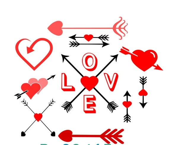 Download Love Arrows SVG, EPS, Dxf and Printable PNG Silhouette ...