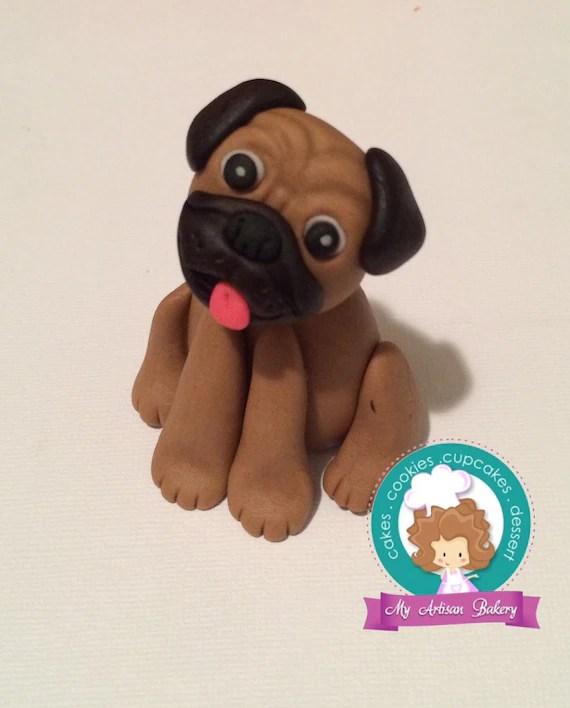 Pug Dog Fondant Cake Topper