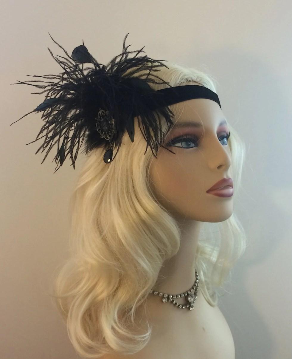 Great Gatsby Headband, Speakeasy, Art Deco Flapper Headband, 1920s Headpiece, 1920s Flapper,Gunmetal Brooch Headband, Black
