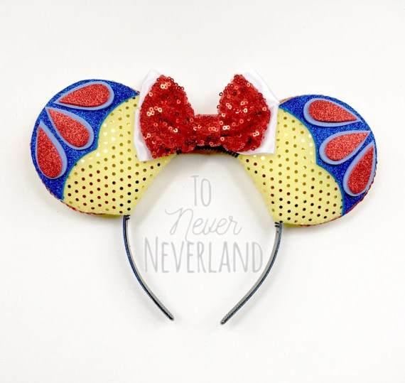 Snow White Disney Inspired Ears, Snow White Mickey Ears,Snow White Inspired Ears Headband,Disney Inspired Snow White Ears, Mickey Mouse Ears