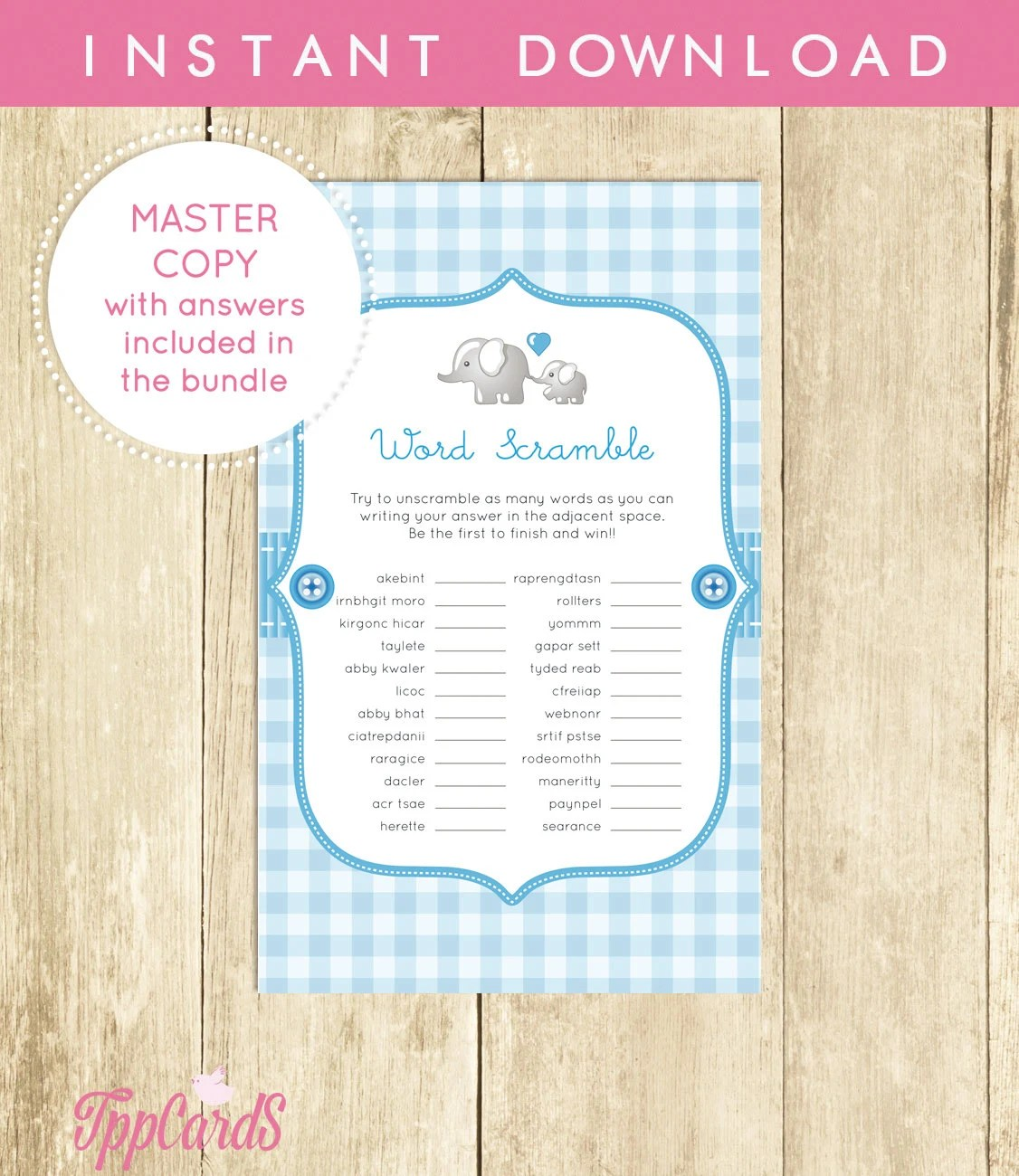Baby Shower Word Scramble Game Blue Elephant Printable Digital
