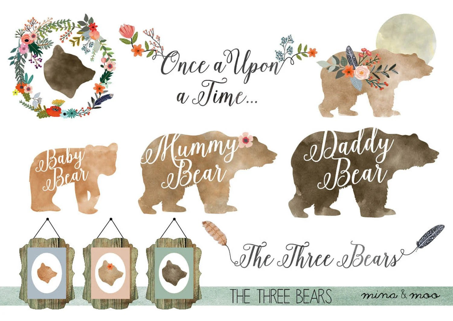 Floral Bear Clipart Watercolour Woodland Clipart Woodland
