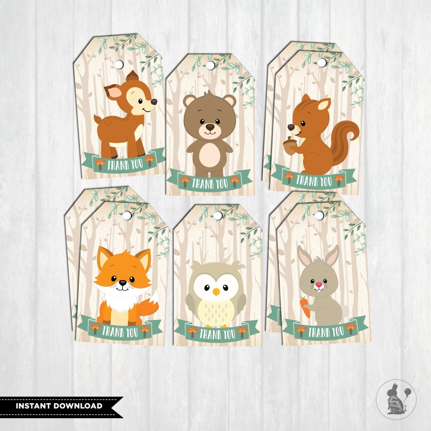 Woodland Baby Shower Favor Tags First Birthday Party Decor