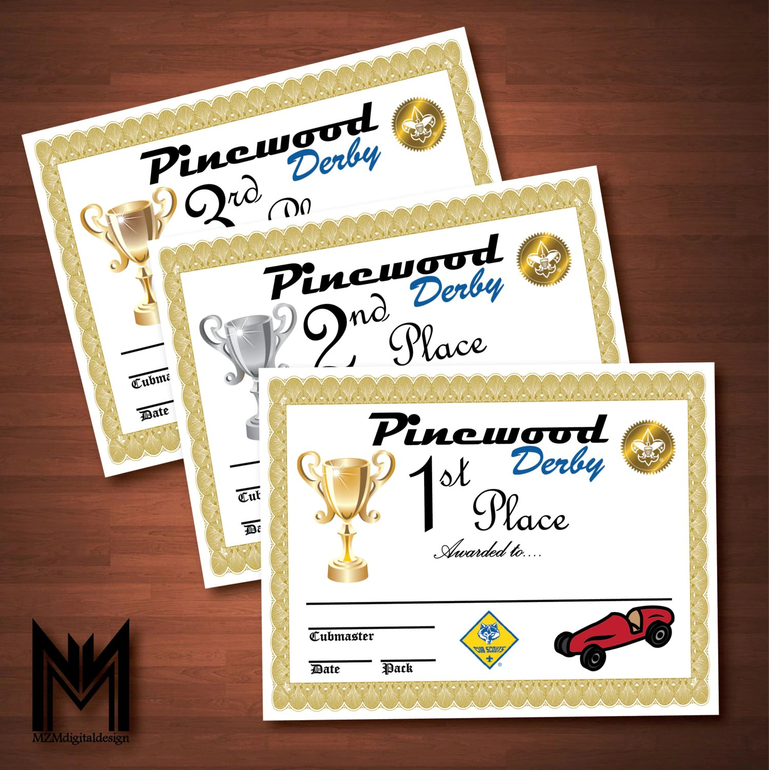 Printable Pinewood Derby Certificates Weigh In Sign Bsa