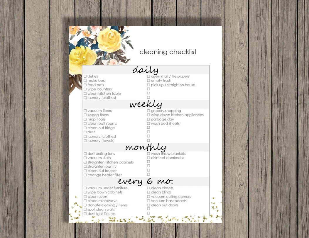 Cleaning Checklist Printable Daily Weekly Monthly And