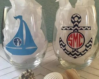 Glass Sailboat Etsy