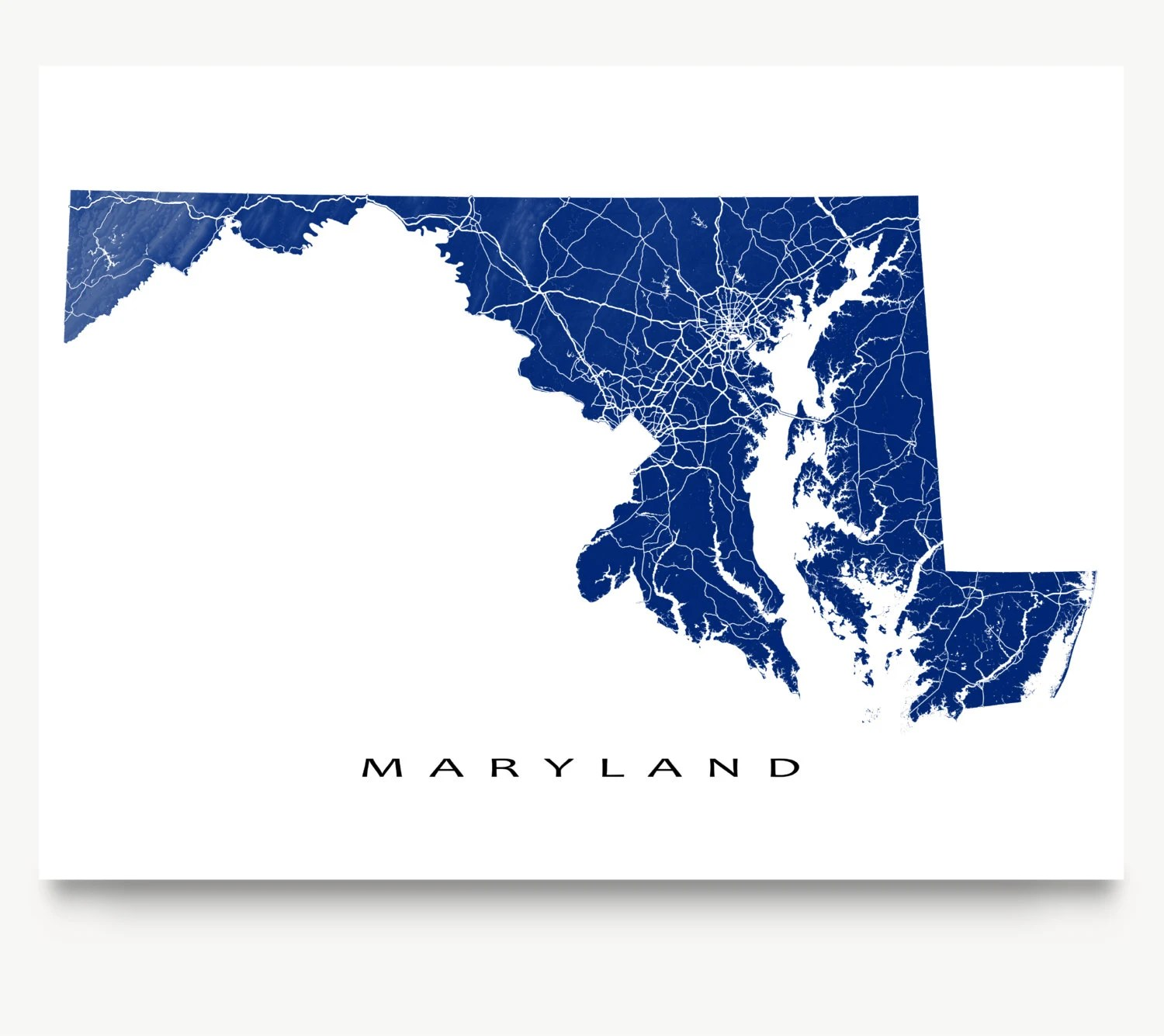 Maryland Map Maryland State Art Print Usa State Outline Maps