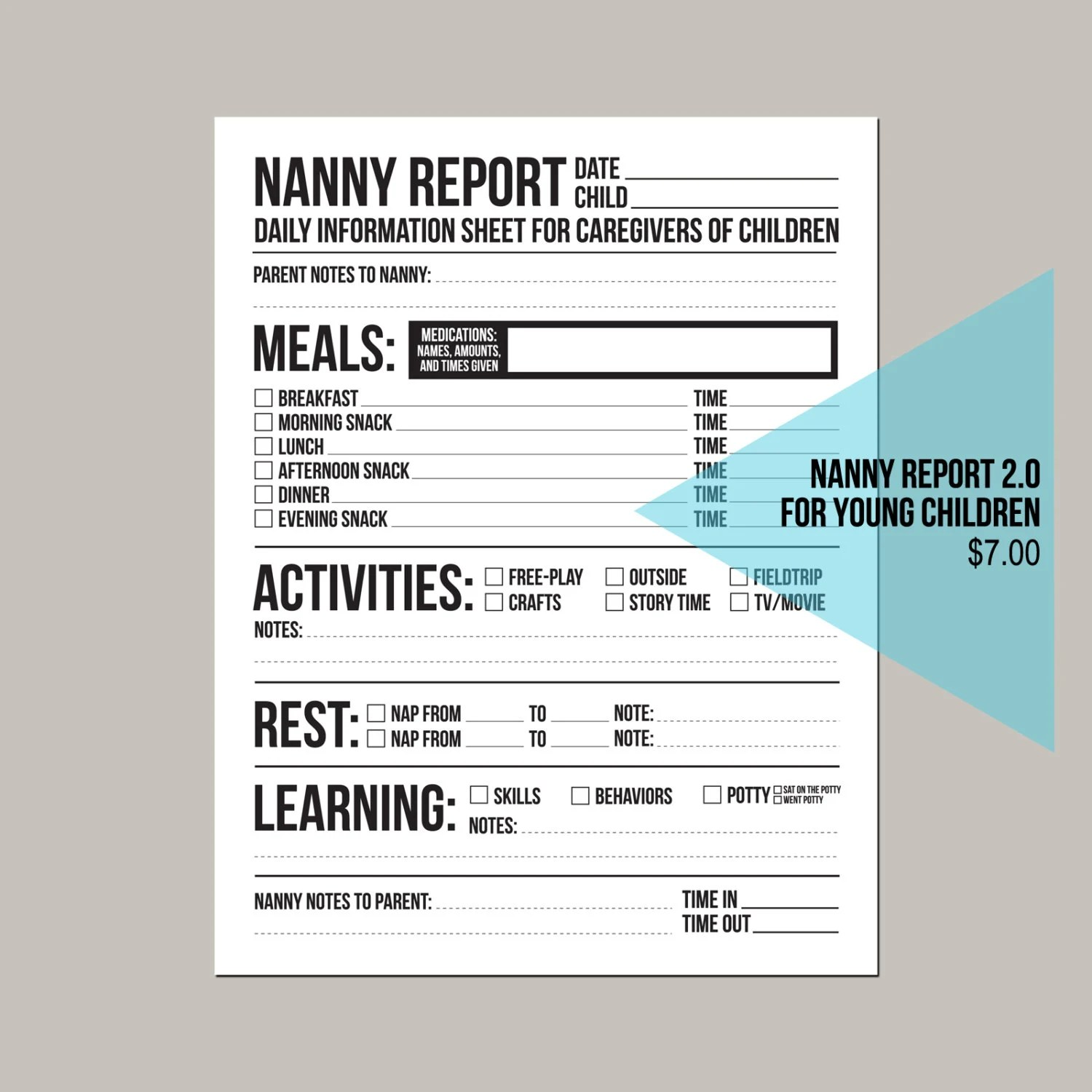 Nanny Report 2 0 Updated Daily Information Sheet For