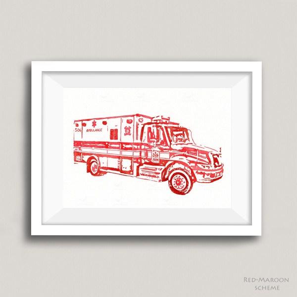 red maroon ambulance painting blue jay bay
