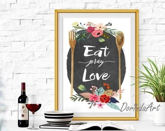 Download Eat pray love printable Red Kitchen wall art Red Kitchen decor
