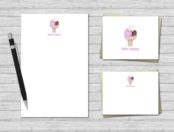 Ice Cream Personalized Stationery Set for Kids
