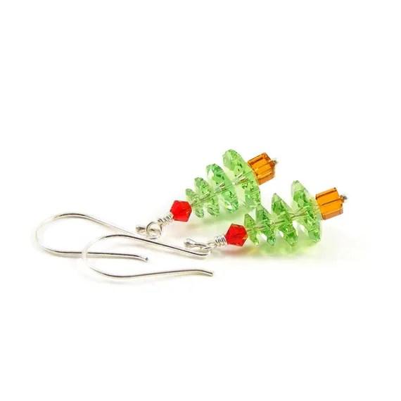 Green Swarovski Christmas Tree Earrings