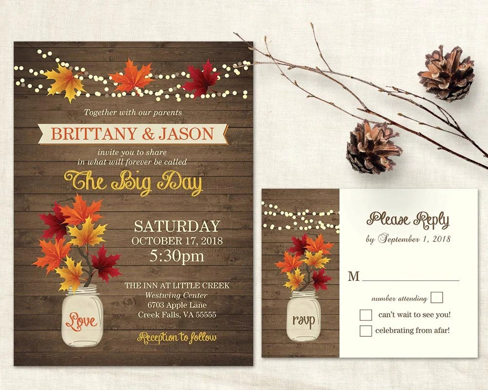Fall Wedding Name Cards