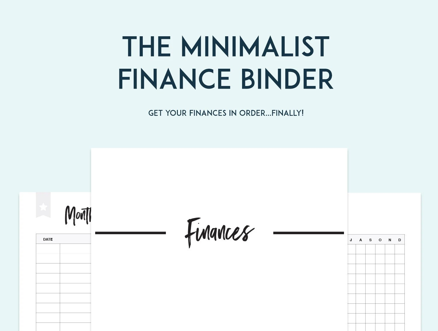 Minimalist Finance Binder Printable Pages Instant