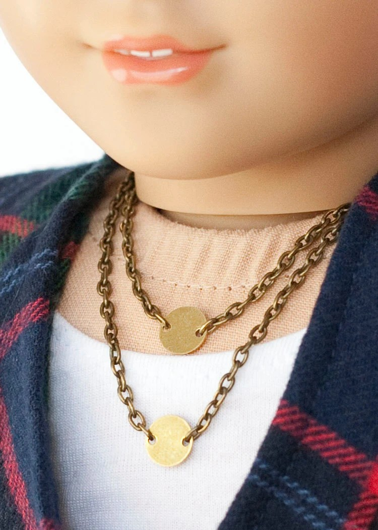 American Girl Doll Double Necklace 2 Brass Circles