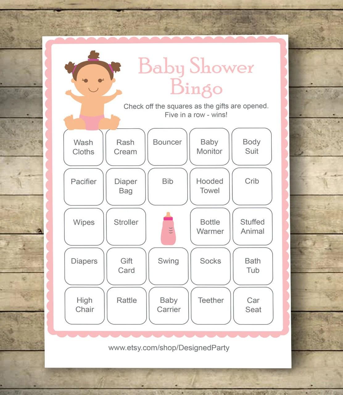 Girl Baby Shower Bingo Cards Baby Shower Bingo Game 40