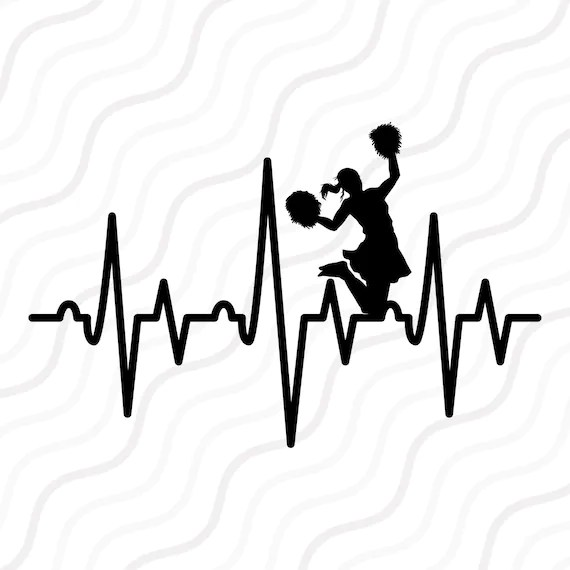 Download Cheer Heartbeat SVG Cheerleader SVG Heartbeat SVG Cut table