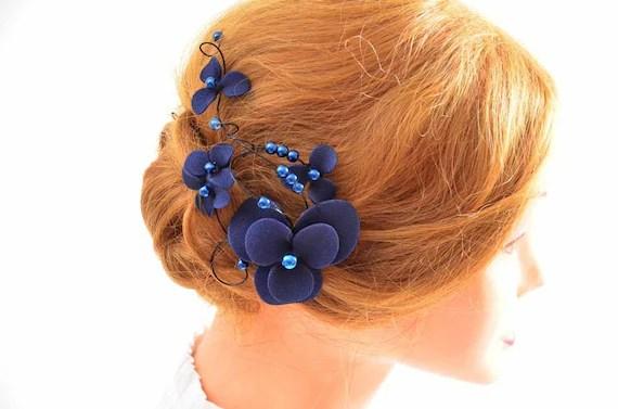 Navy Blue Fascinator Bridesmaids Navy Head Piece Wedding Hair