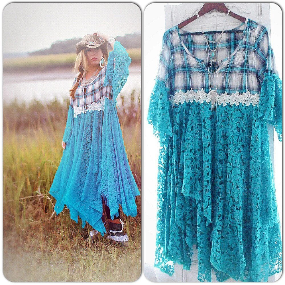 Dress Western Turquoise