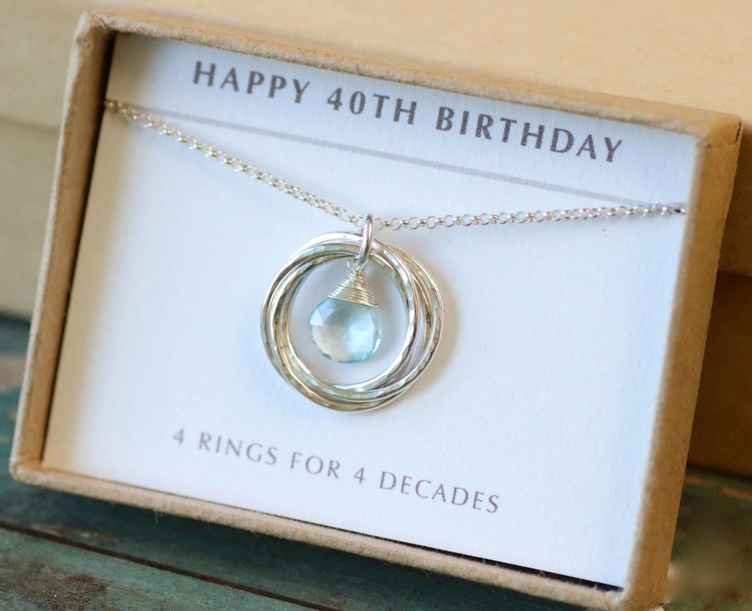 40th Birthday Gift For Her December Birthstone Necklace Blue