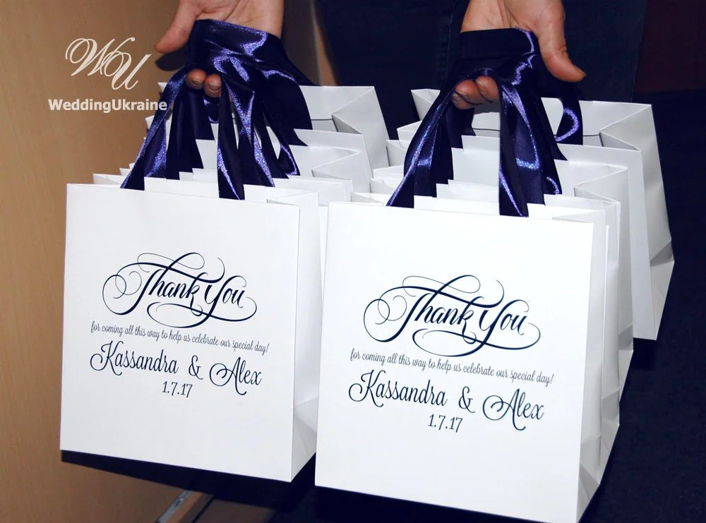 30 Wedding Welcome Bags With Navy Blue Satin Ribbon & Names