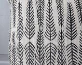 Grey linen cushion. Leaf ...