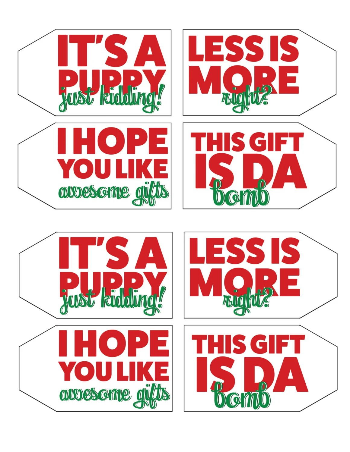 Funny Christmas T Tags Digital Download