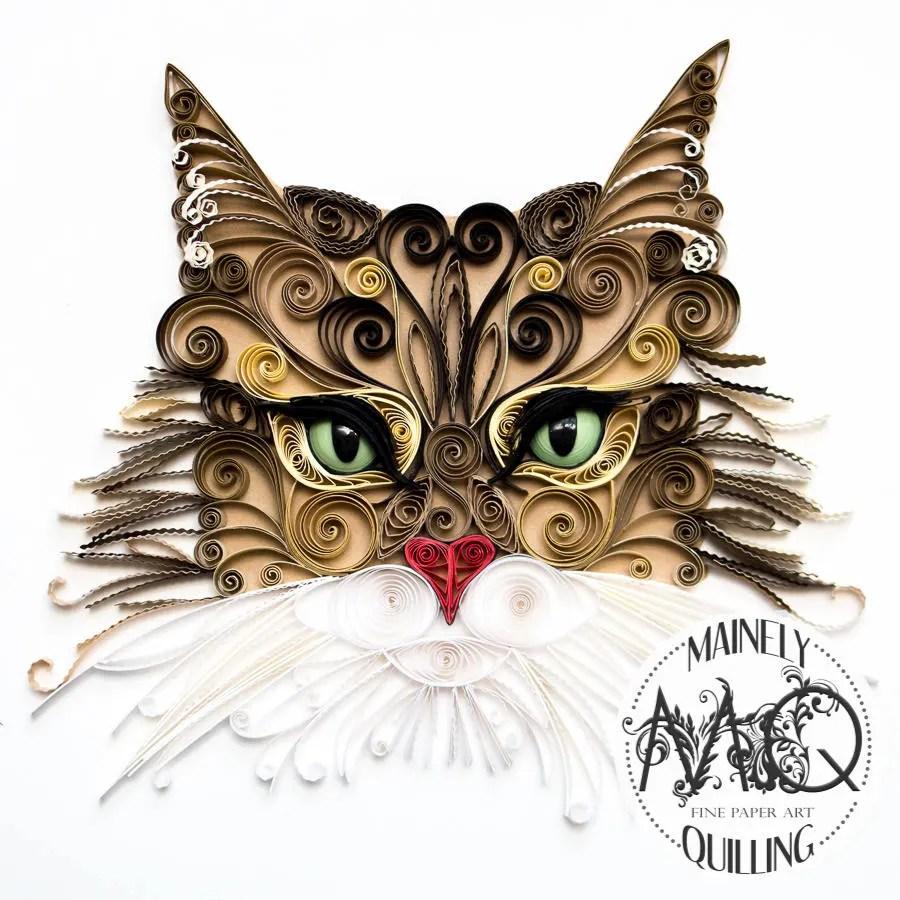 Custom Quilled Cat Portra...