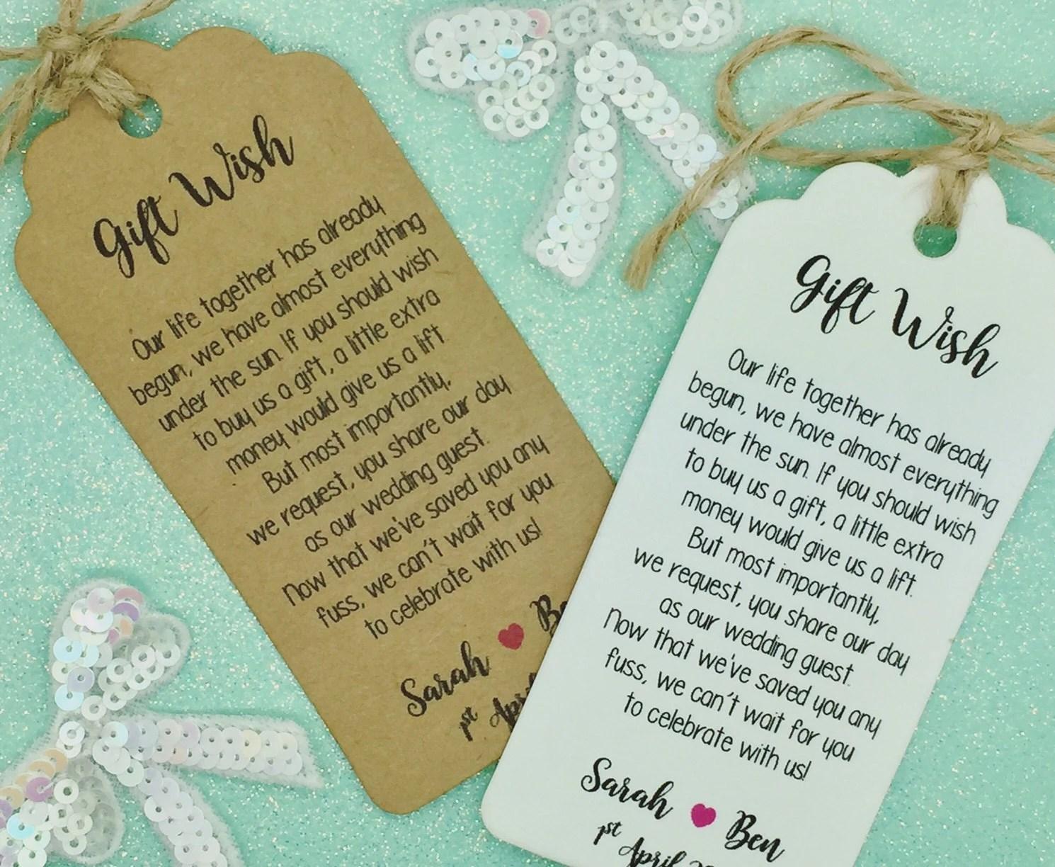 Wedding Money Gift Poem Honeymoon Wishing Well Personalised