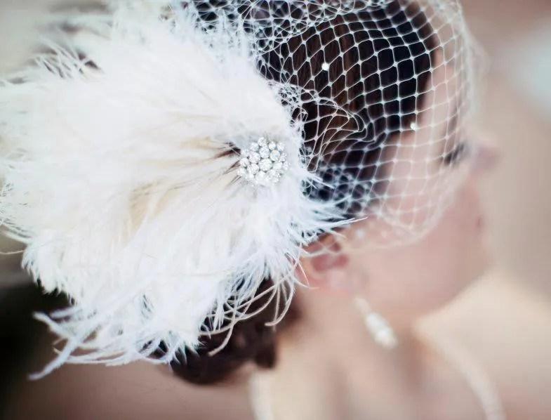 Fascinator, Wedding Headpiece, Bridal Fascinator, Ivory Fascinator, Bridal Headpiece, Bridal Hair Clip, Bridal Veil, Bandeau Veil