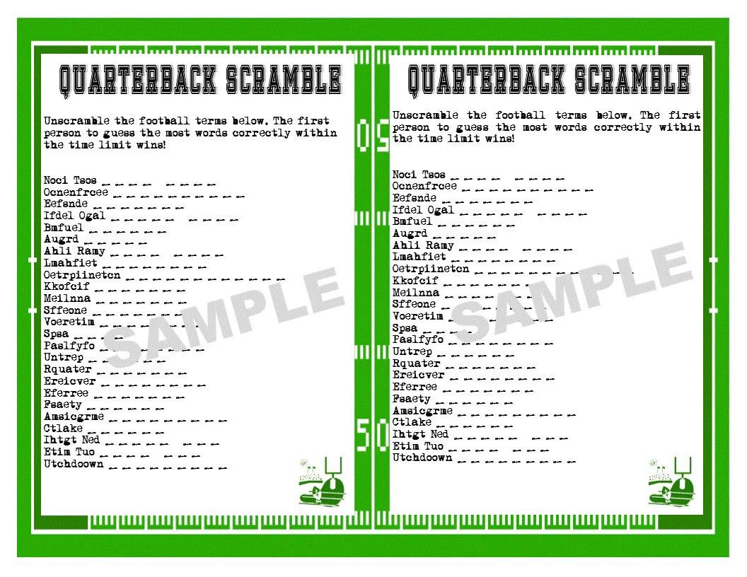 Football Printable Word Scramble Game Super Bowl Bachelor