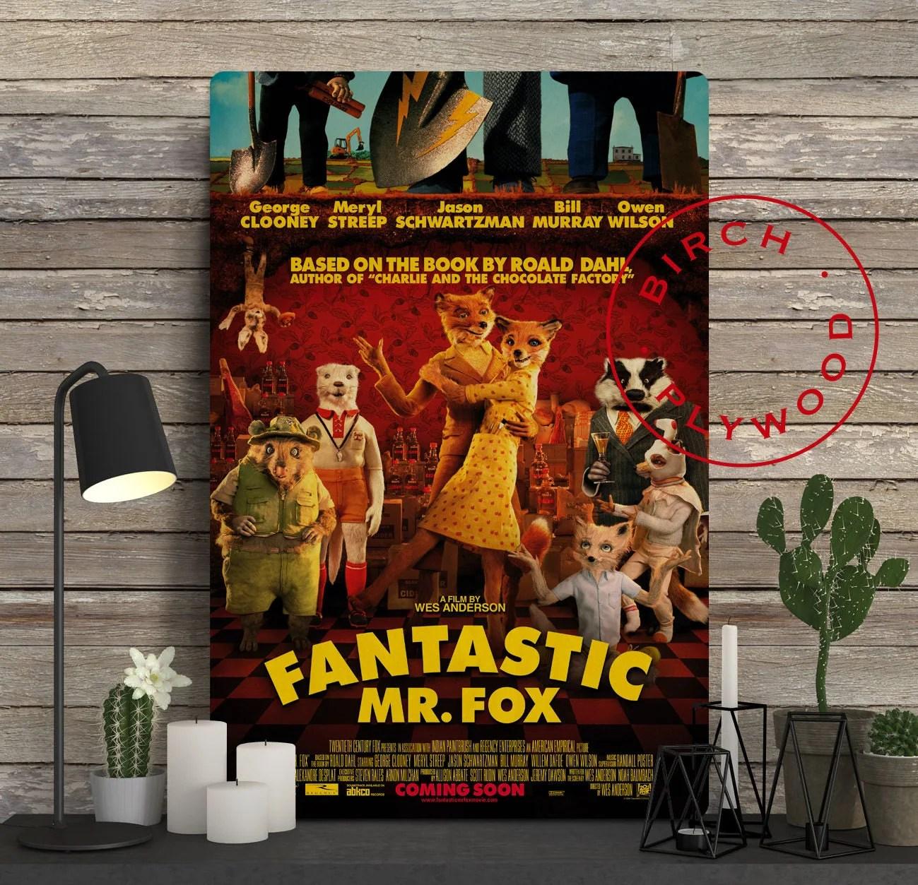 Fantastic Mr Fox Poster On Wood George Clooney Meryl