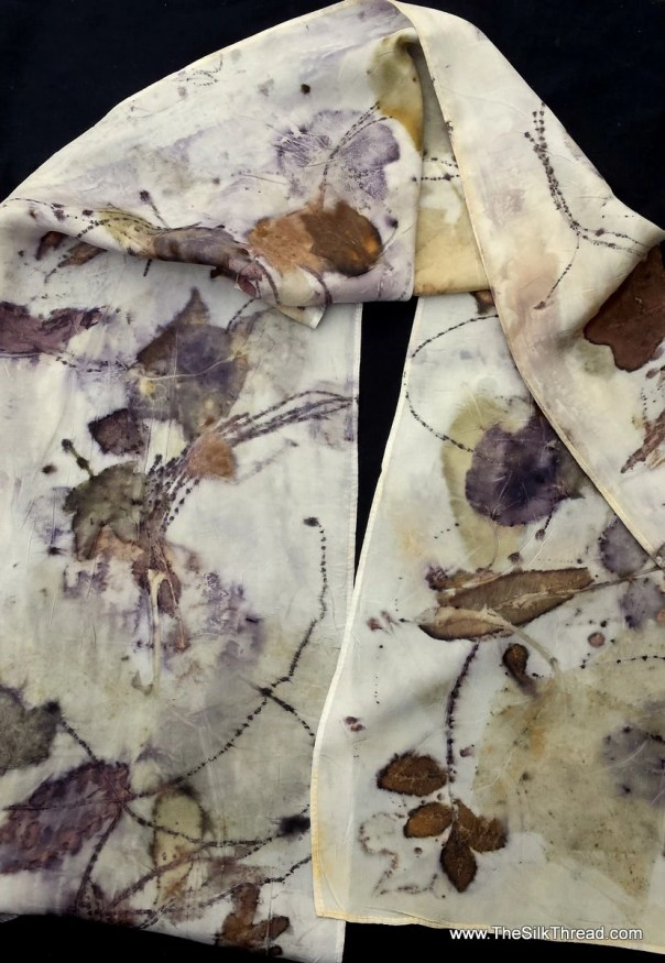 Silk Scarf, ECO-printed with oak and fall leaves in all natural colors, by artist, totally organic & renewable, sustainable art, 11 x 60