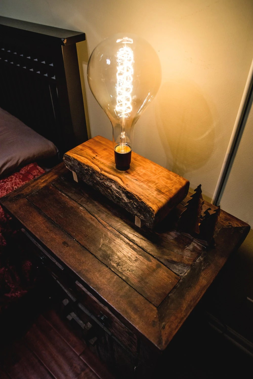 Wood Light Lamp Live Edge Slab Rustic