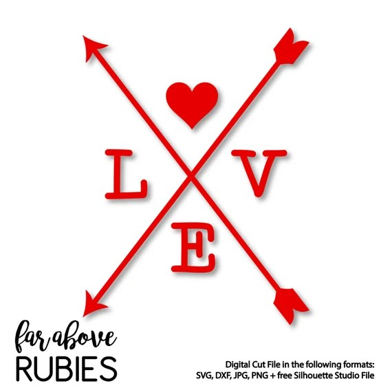 Download Happy Valentine's Day Love with Heart Cross Arrows - SVG ...