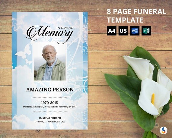 SKY AND BUTTERFLY 8 Page Funeral Program Booklet Template