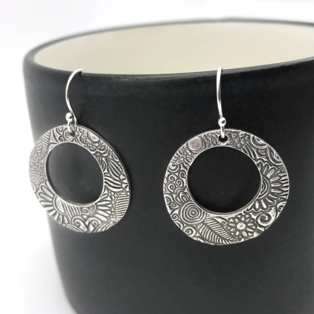 Round Textured Dangle Ear...