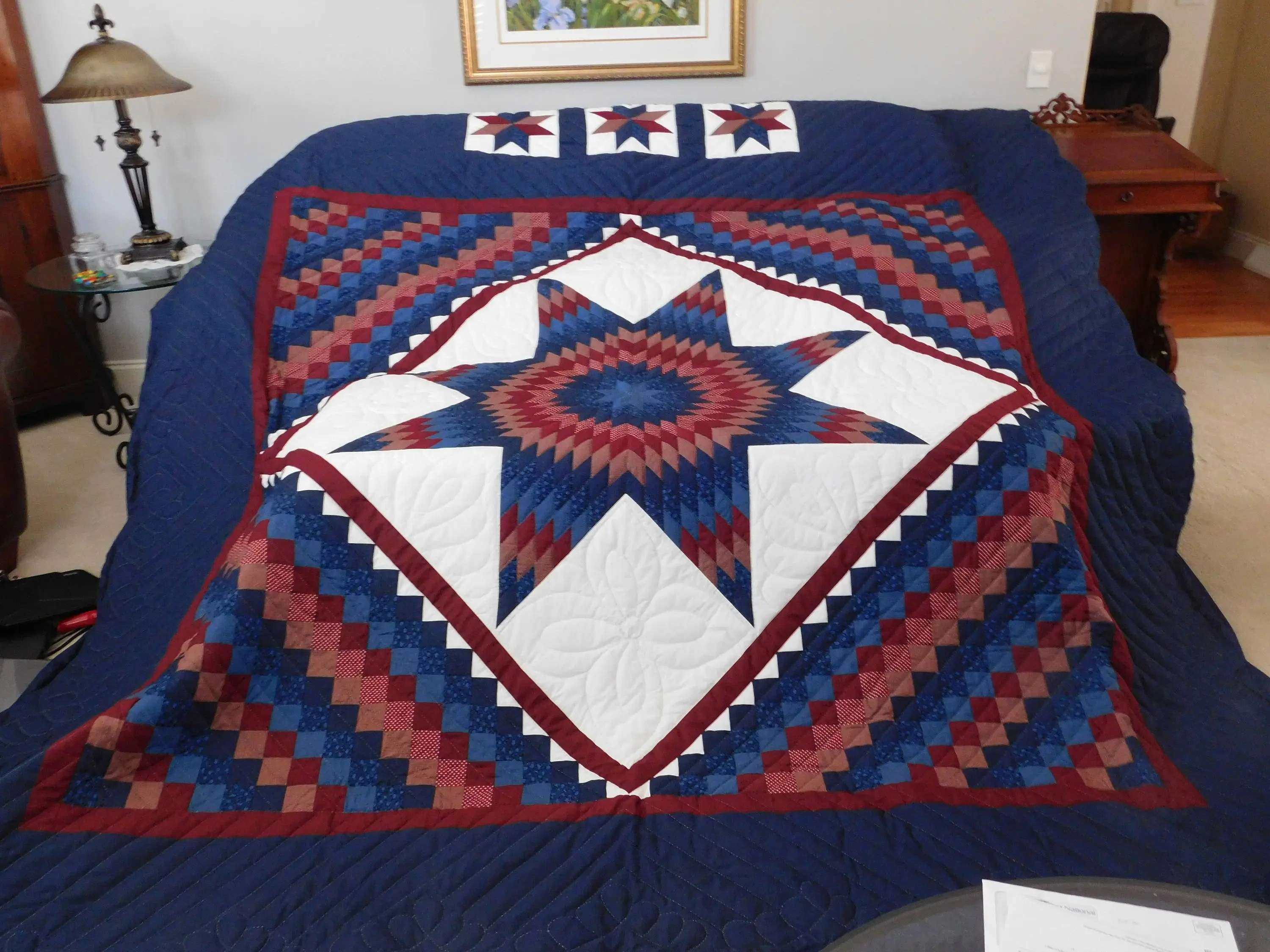 King Size Amish Pattern Hand Quilted Star N Common Quilt