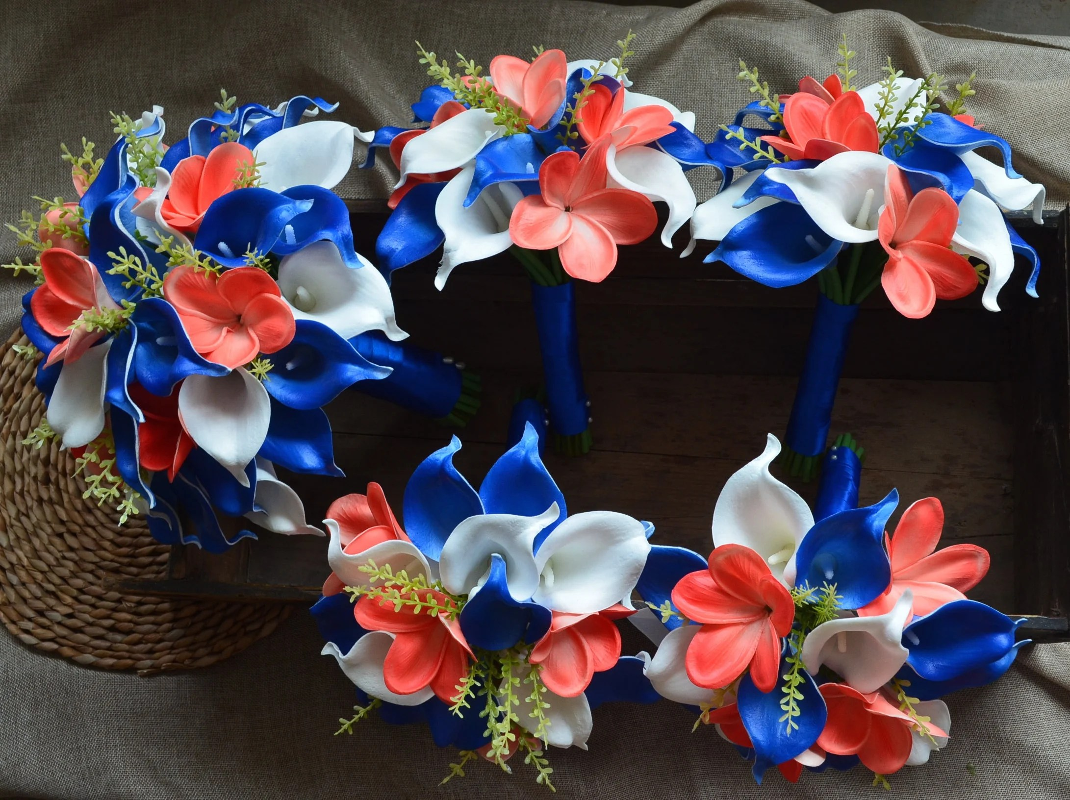 Royal Blue Coral Wedding Bouquets Real Touch Callas Lilies