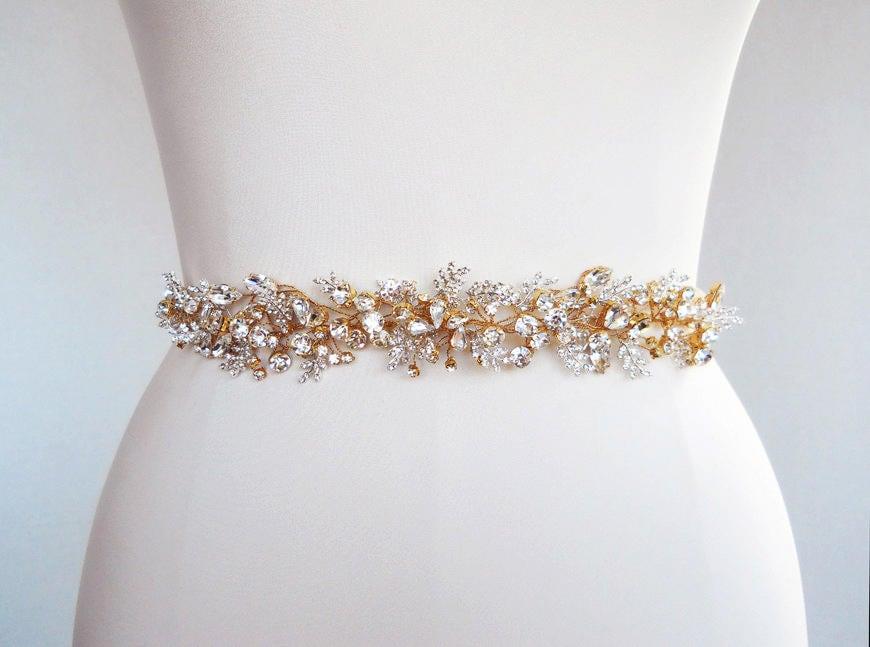 Bridal Swarovski Crystal Sash Belt In Gold Or Silver Beaded