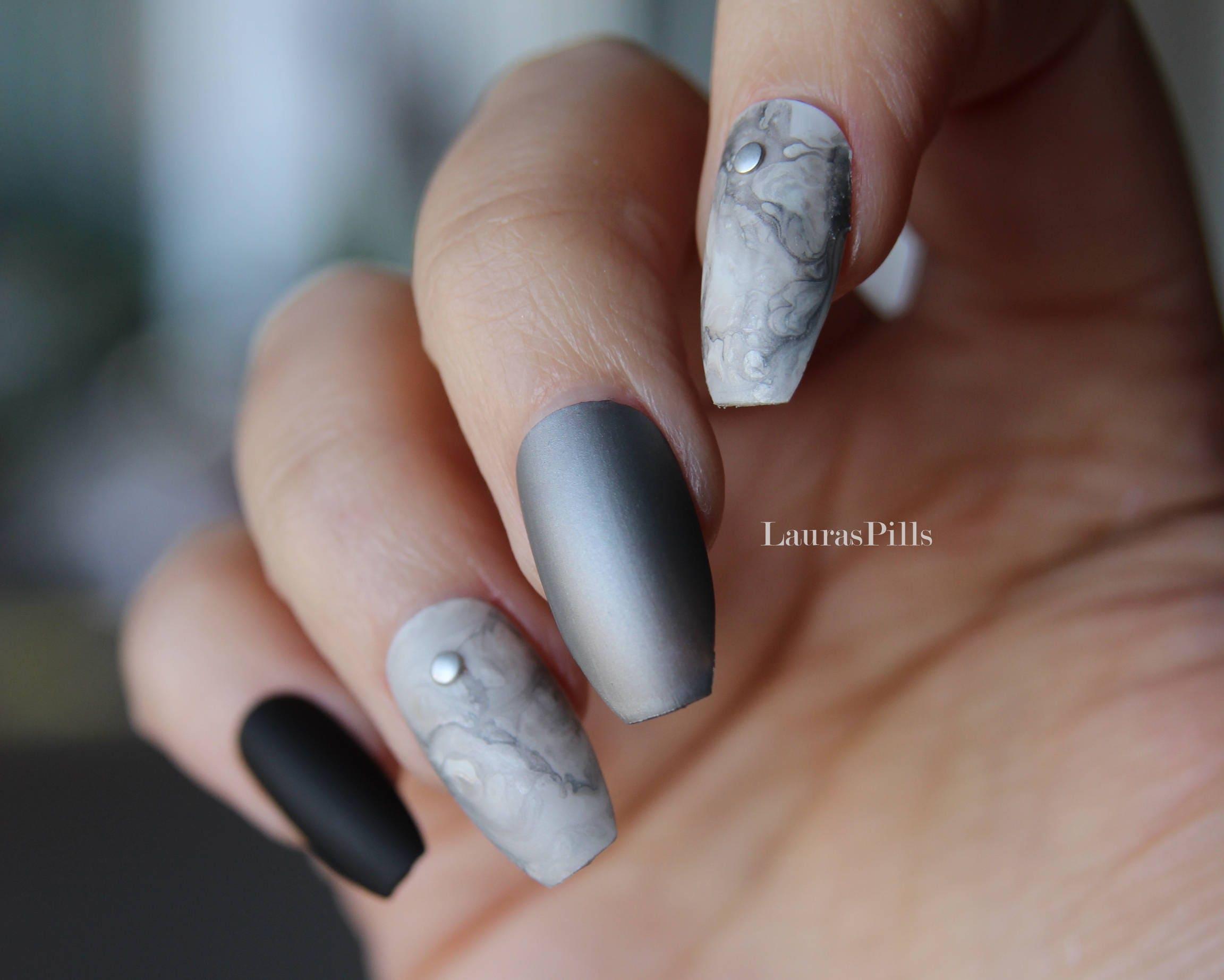 Magnificent Marble Coffin Nails Composition - Nail Art Design Ideas ...