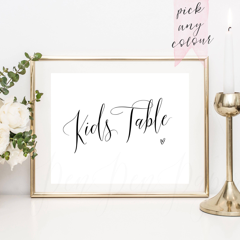 Kids Table Printable Wedding Reception Sign Childrens Table
