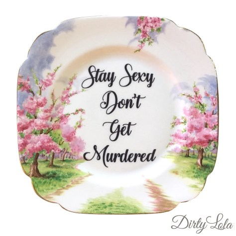 Vintage - Illustrated - My Favorite Murder Plate - Wall Display - Upcycled - Stay Sexy - Dirty Lola