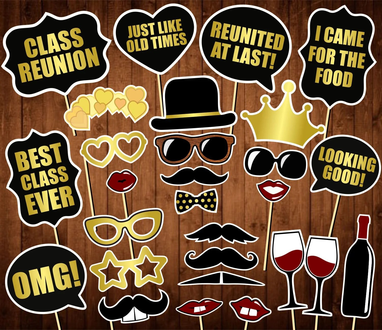 Class Reunion Photo Booth Props Printable School