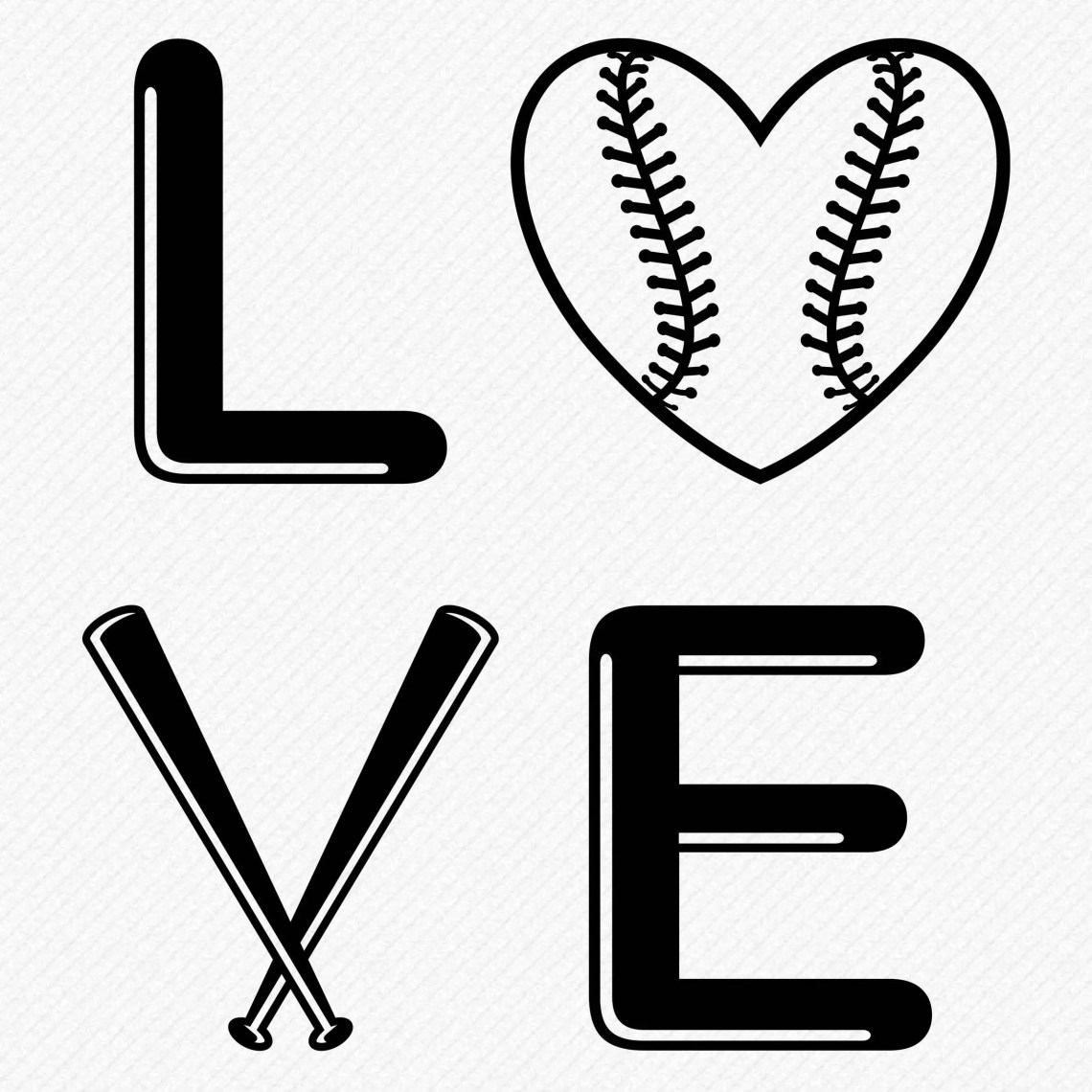Download Love Baseball SVG, cutting file, love baseball silhouette ...