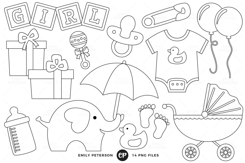 50 Off Sale Baby Shower Digital Stamps Baby Girl Line Art Nursery Clip Art