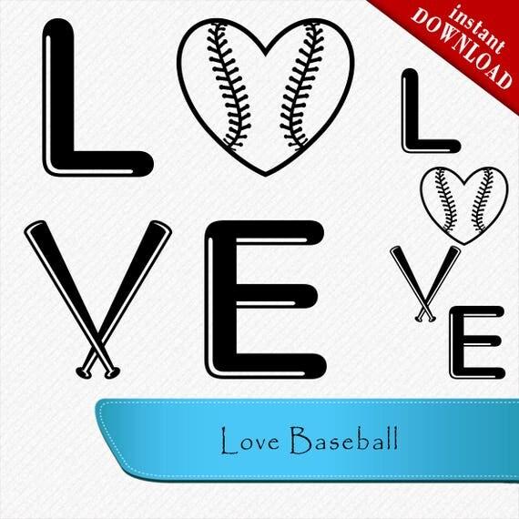 Download Love Baseball SVG cutting file love baseball silhouette