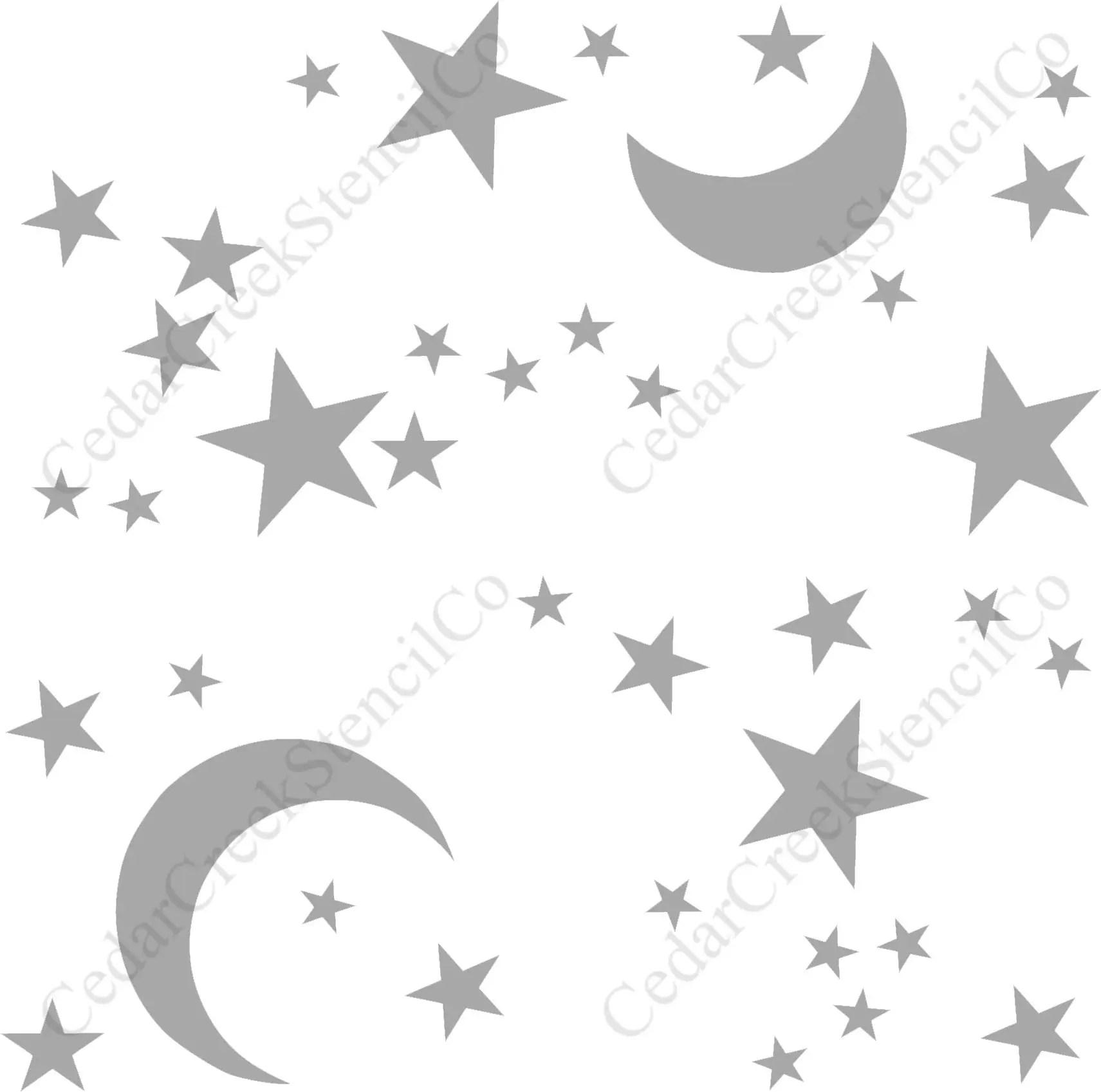 Star And Moon Pattern Stencil Moon Stencil Star Stencil