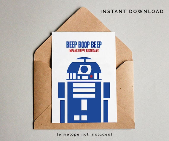 Star Wars Birthday Card R2D2 Birthday Card Star Wars Card